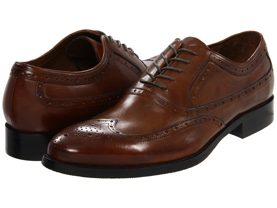 Johnston amp Murphy - Tyndall Wing Tip Saddle Tan Italian Calfskin Mens Lace Up Wing Tip Shoes $164.95 AT vintagedancer.com