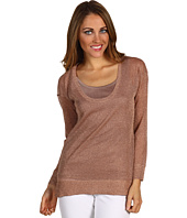 Calvin Klein - Petite L/S Shimmer Scoop Neck Sweater