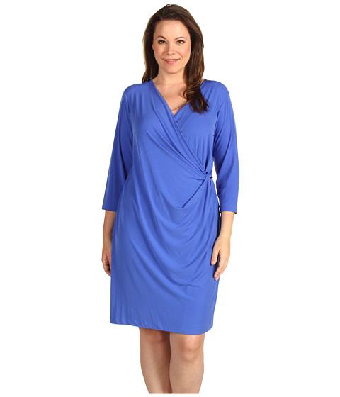 Calvin Klein - Plus Size 3/4 Sleeve V-Neck Dress (Lapis) - Apparel