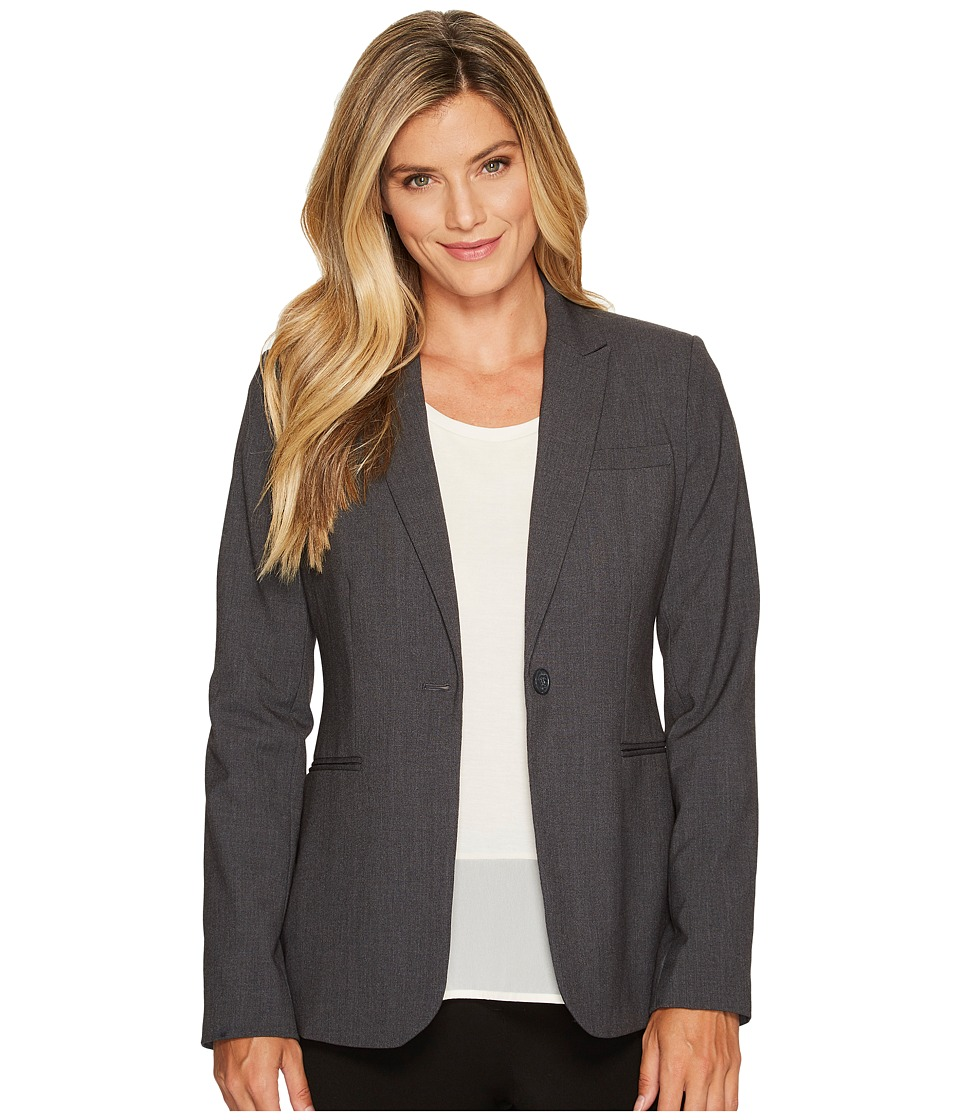 Calvin Klein - 1 Button Jacket (Charcoal Melange) Womens Jacket