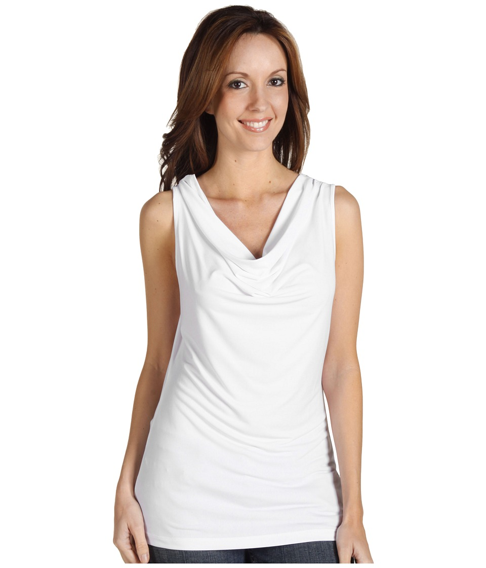 Calvin Klein - Cowl Neck Sleeveless Top (White) Womens Sleeveless