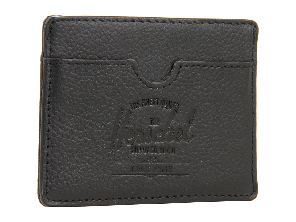Herschel Supply Co. - Charlie Leather (Black Pebble Leather) Wallet Handbags