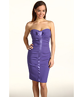 Nicole Miller - Satin Crepe Strapless Tucked Dress