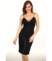 Nicole Miller - Satin Crepe Tucked Dress With Slip