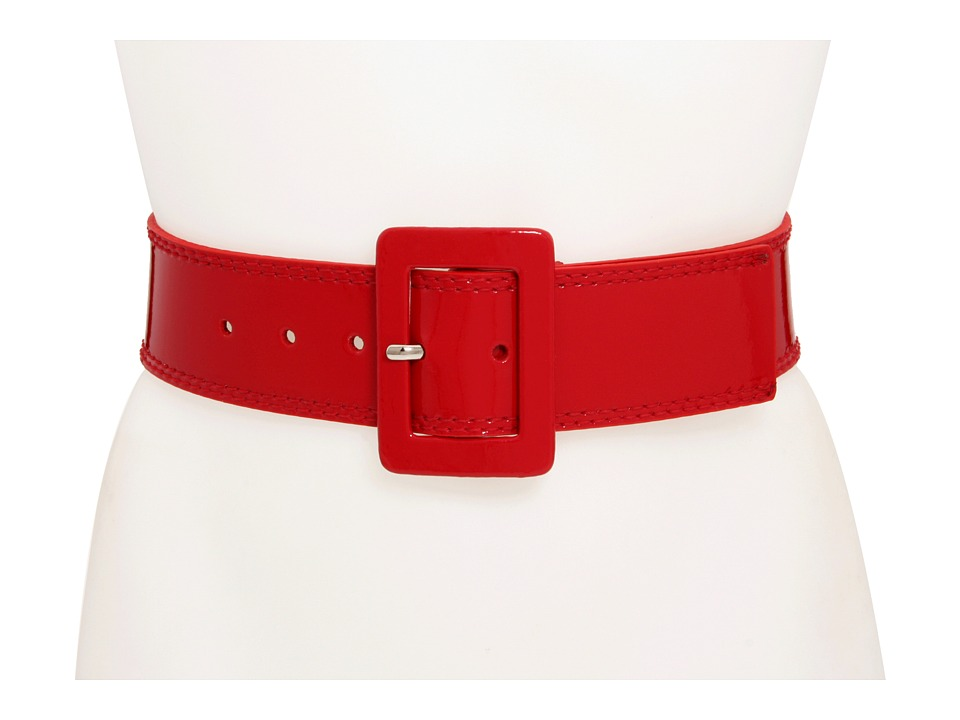 Calvin Klein 2 1/8 Patent Covered Buckle Red Womens Belts