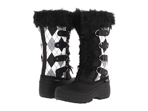 Tundra Boots Kids Diana (Little Kid/Big Kid) - Black/White Argyl