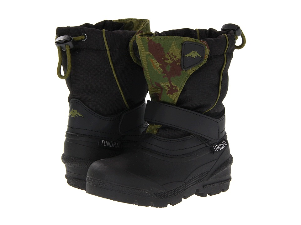Tundra Boots Kids - Quebec (Toddler/Little Kid/Big Kid) (Black/Green Camo) Boys Shoes