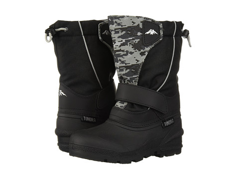 Tundra Boots Kids Quebec (Toddler/Little Kid/Big Kid) - Black/Grey Camo