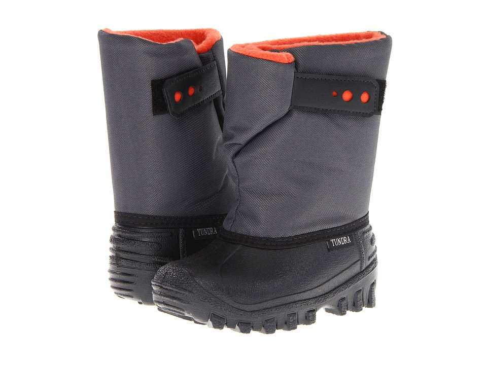 Tundra Boots Kids Teddy (Toddler/Little Kid) (Black/Charcoal/Orange) Boys Shoes