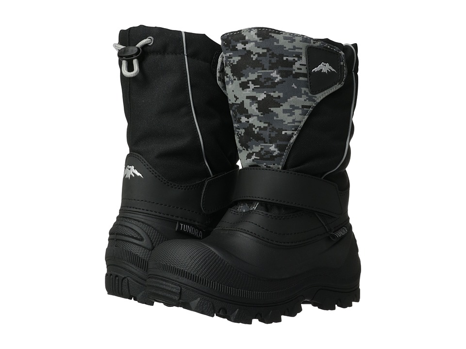 Tundra Boots Kids - Quebec Wide (Toddler/Little Kid/Big Kid) (Black/Grey Camo) Boys Shoes