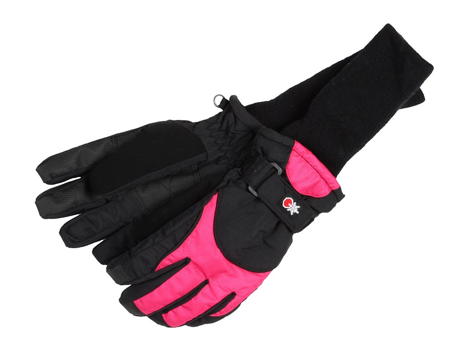 Tundra Boots Kids Snowstoppers Gloves Black/Fuschia Extreme Cold Weather Gloves