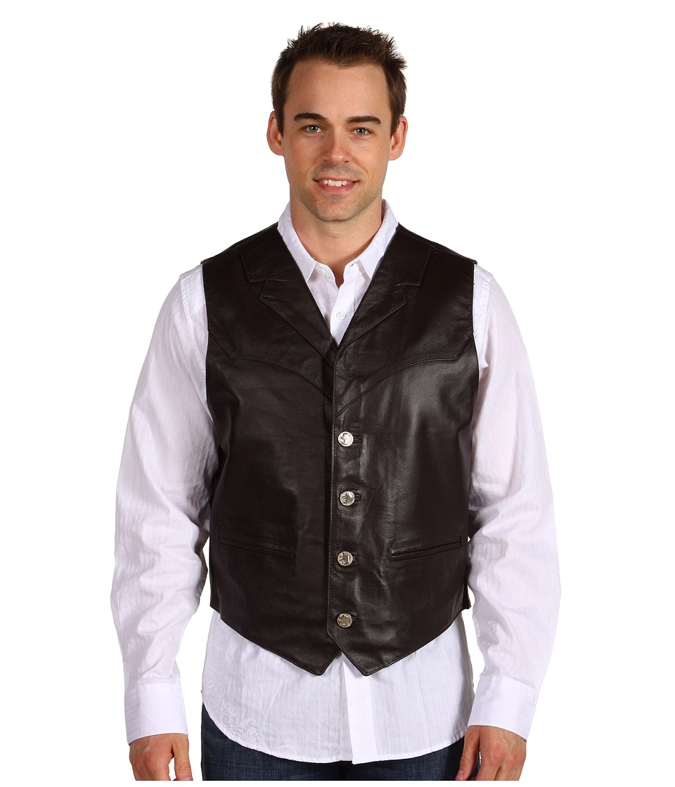 Roper - Leather Notch Collar Vest (Brown) Mens Vest