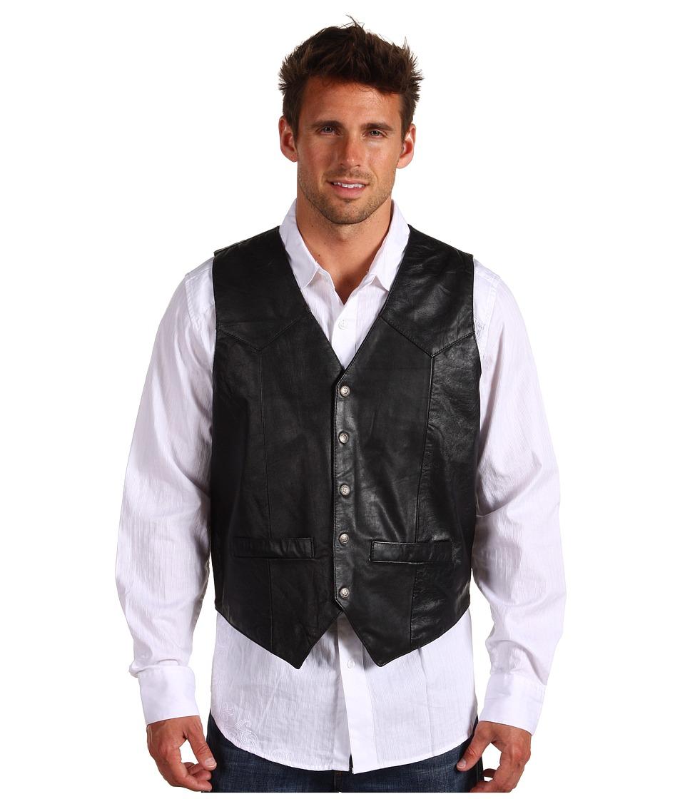 Roper - Lamb Skin Western Vest (Black) Mens Vest