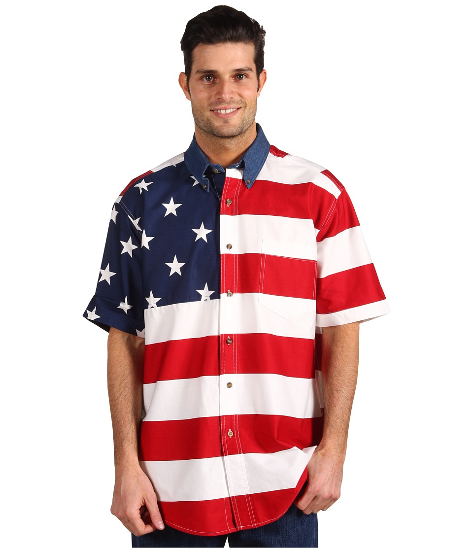 Roper - Stars Stripes Pieced Flag Shirt S/S (Red) Mens Clothing