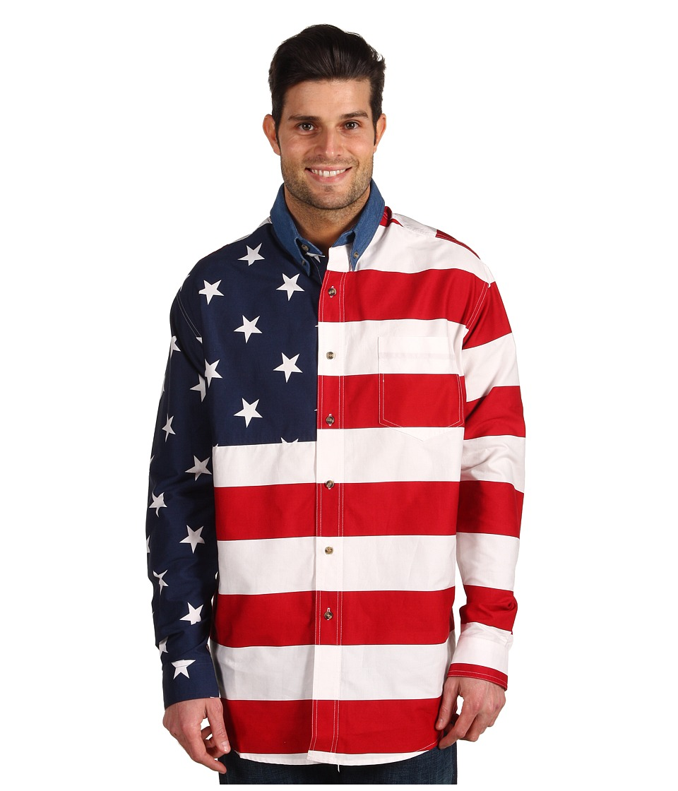 Roper - Stars Stripes Pieced Flag Shirt L/S (Red) Mens Clothing