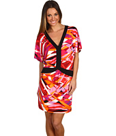 BCBGMAXAZRIA - Printed Jersey V-Neck Mini Dress