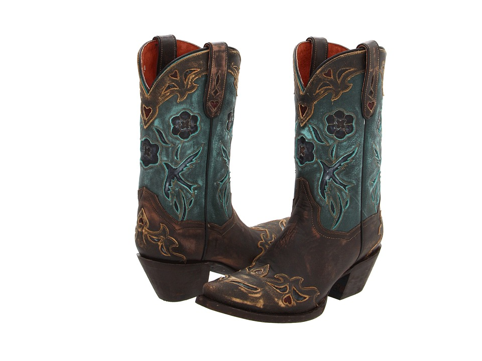 Dan Post - Blue Bird (Sanded Copper/Turquoise Blue Bird) Cowboy Boots