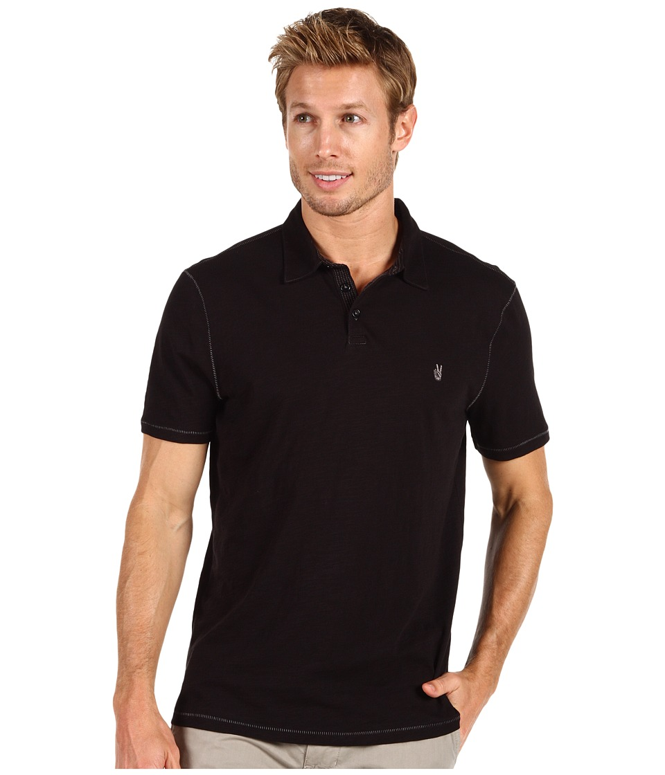 John Varvatos Star U.S.A. - Slub S/S Peace Polo K1381N2B (Black) Mens Short Sleeve Knit