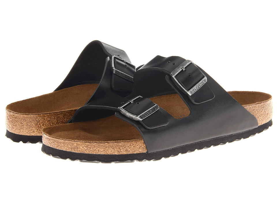 Birkenstock - Arizona Soft Footbed - Leather (Unisex) (Black Amalfi Leather) Sandals