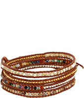 Chan Luu - Multi Mix Section Wrap Bracelet on Natural Brown Leather