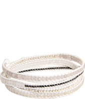 Chan Luu - Doeskin White Mix Section Wrap Bracelet on White Leather