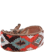 Chan Luu - Coral Combo Beaded Silk Chiffon Bracelet with Chain Trim