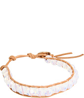 Chan Luu - White Opal Crystal Single Bracelet on Beige Leather