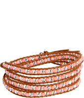 Chan Luu - Salmon Coral Stone and Crystal Mix Wrap Bracelet on Henna Leather
