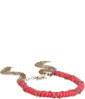 Chan Luu - Neon Fuchsia Multi Color Cotton Cord Bracelet Within Chain and Trimmed With Chain Fringe