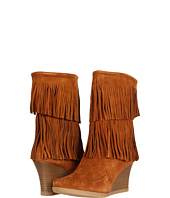 Minnetonka - Calf High Double Fringe Wedge Boot