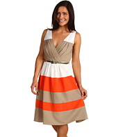 Eliza J - Color Block Dress w/Skinny Belt