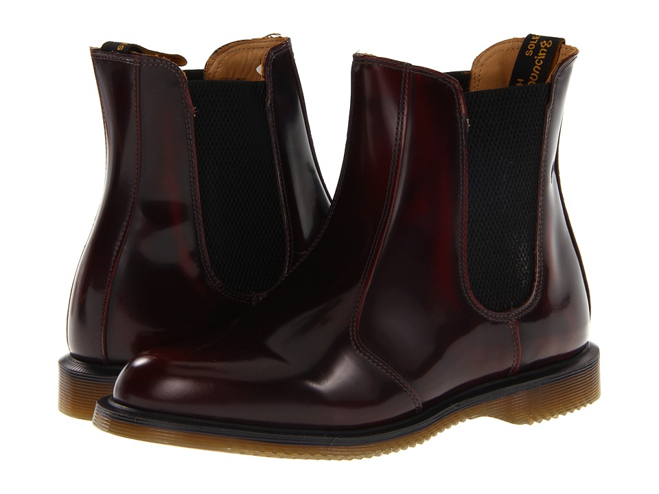 Dr. Martens Flora Chelsea Boot (Burgundy Classic Rub Off) Women's Lace-up Boots
