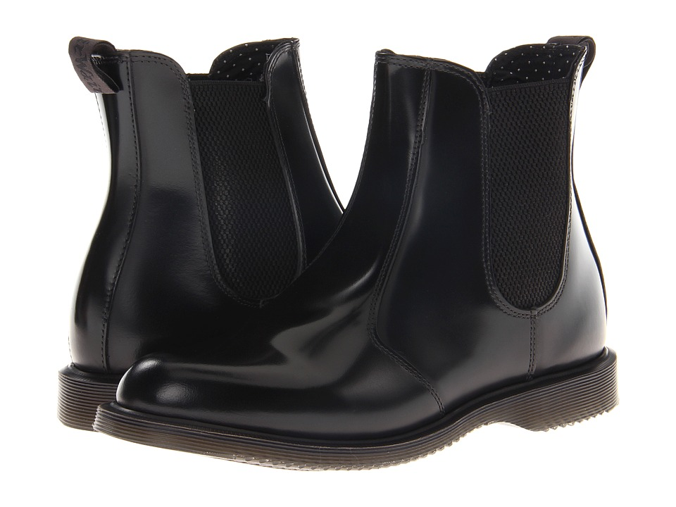 Dr. Martens Flora Chelsea Boot (Black Polished Smooth) Women's Lace-up Boots