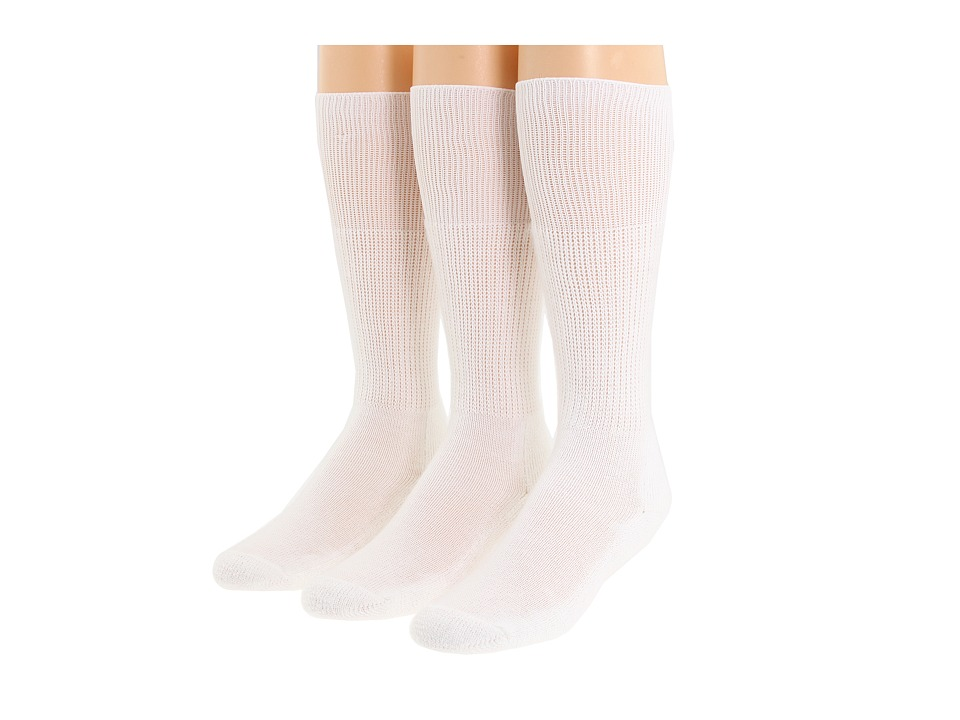 Thorlo Western Dress 3-Pair Pack (White) Crew Cut Socks S...
