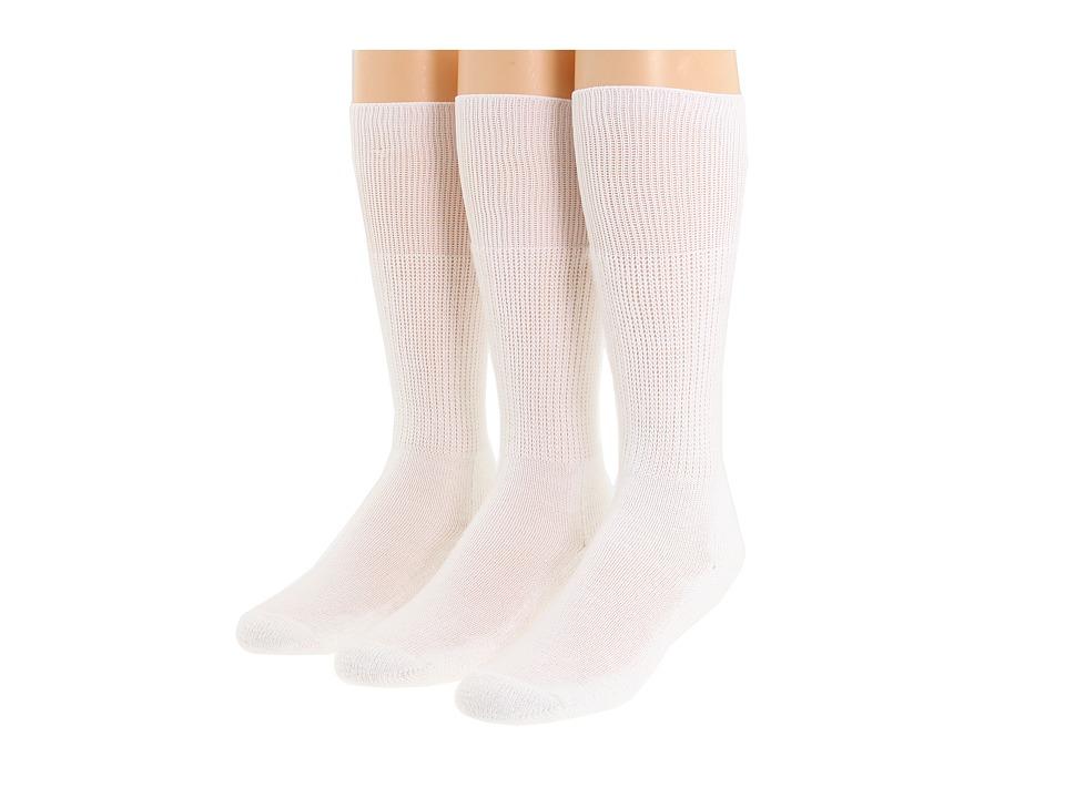 Thorlos - Western Dress 3-Pair Pack (White) Crew Cut Socks Shoes