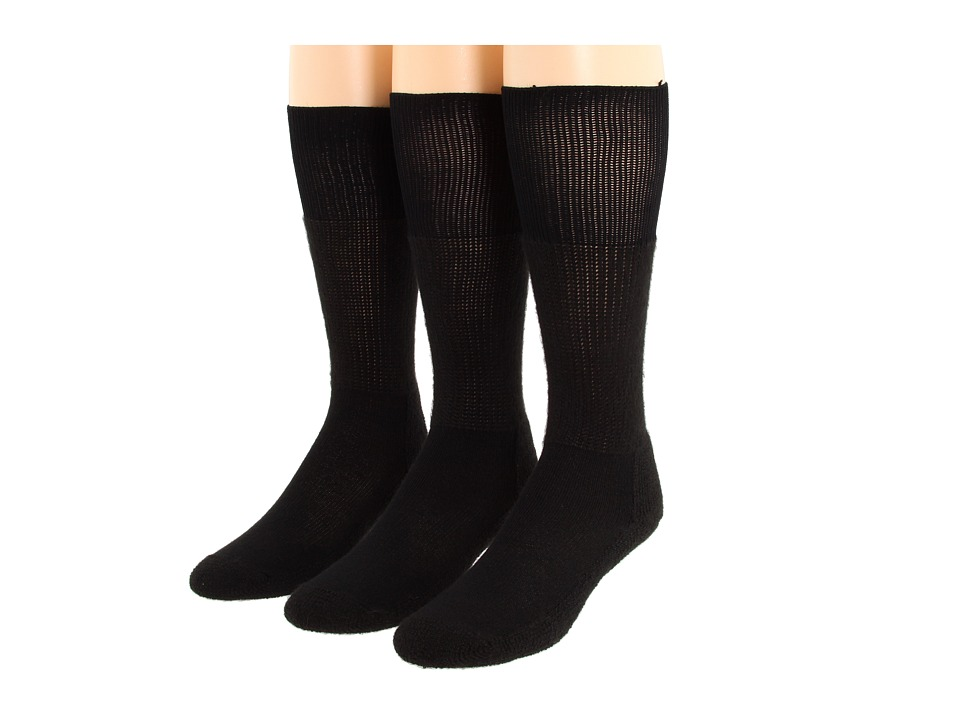 Thorlo Western Dress 3-Pair Pack (Black) Crew Cut Socks S...