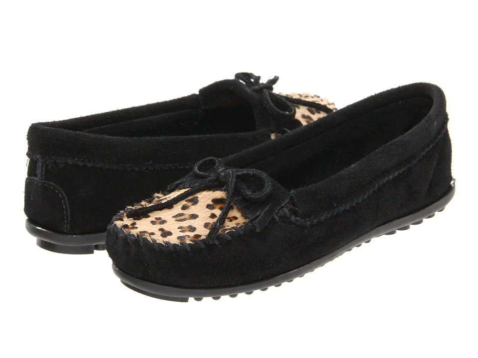 Minnetonka Leopard Kilty Moc Black Womens Moccasin Shoes
