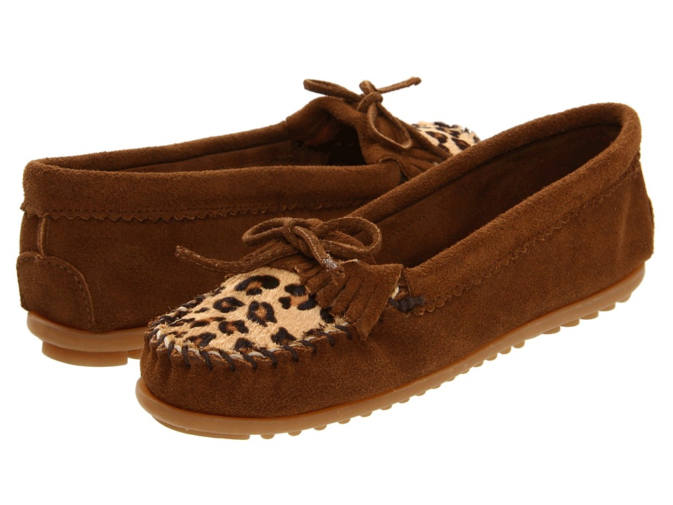 Minnetonka Leopard Kilty Moc Dusty Brown Womens Moccasin Shoes