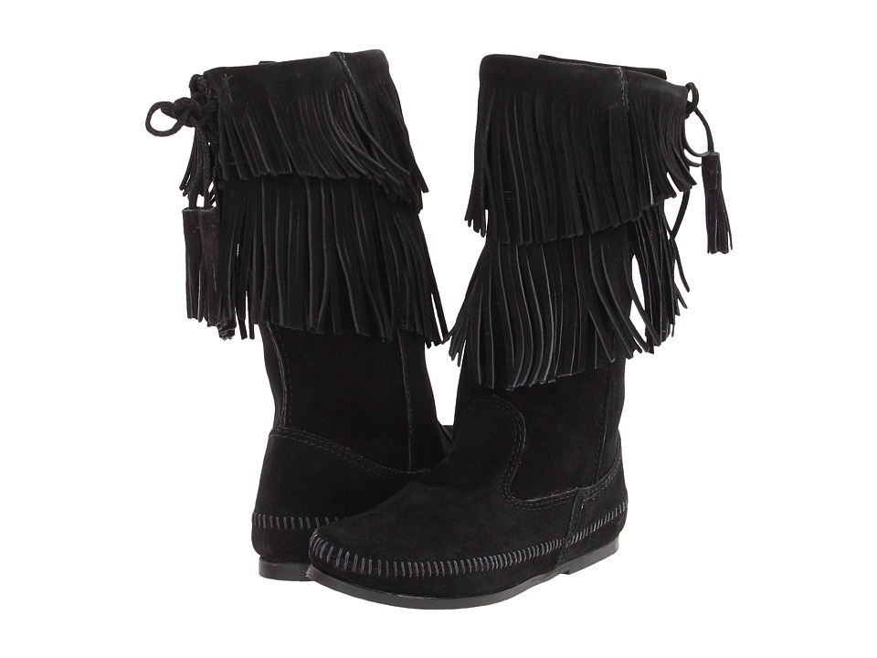 Minnetonka - Calf Hi 2-Layer Fringe Boot (Black Suede) Women