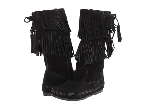 Minnetonka Calf Hi 2-Layer Fringe Boot