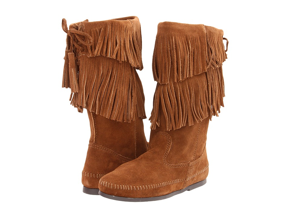 Minnetonka Calf Hi 2-Layer Fringe Boot (Dusty Brown Suede) Women