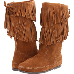 Minnetonka Calf Hi 2-Layer Fringe Boot - Zappos.com Free Shipping ...