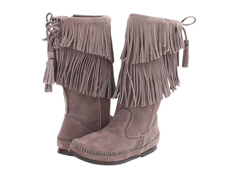 Minnetonka Calf Hi 2-Layer Fringe Boot (Grey) Women