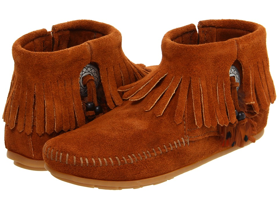 Minnetonka Concho/Feather Side Zip Boot (Brown Suede) Women
