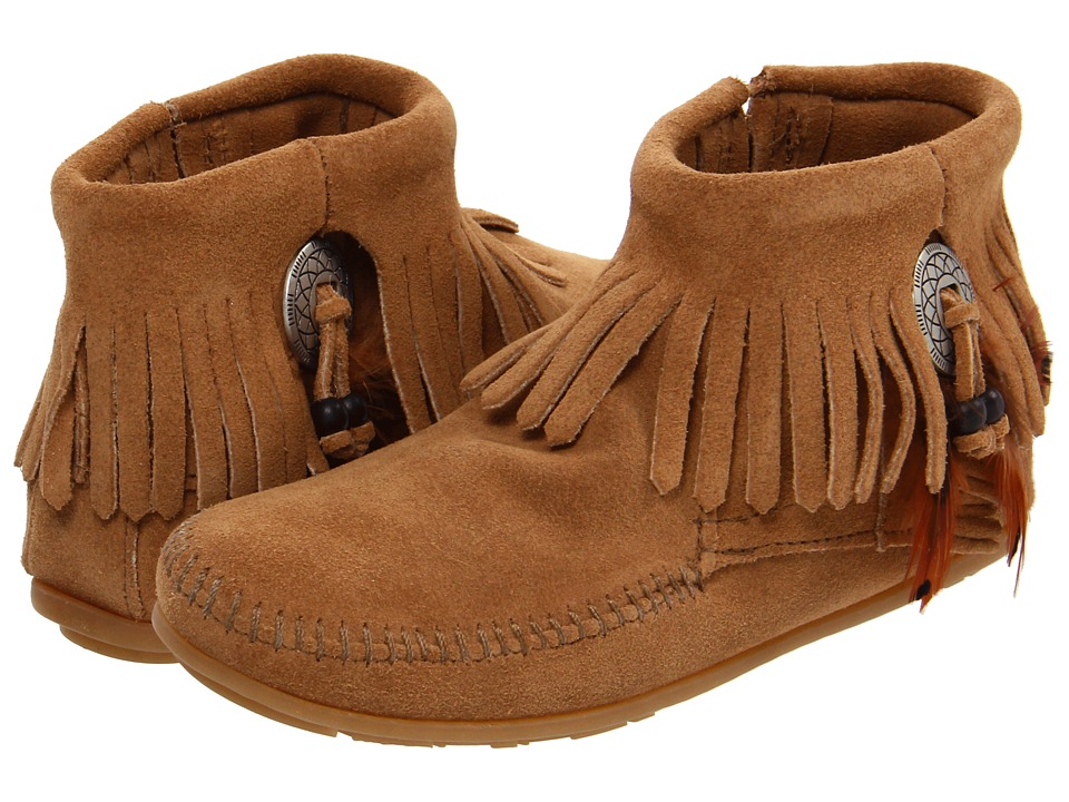 Minnetonka Concho/Feather Side Zip Boot (Taupe Suede) Women