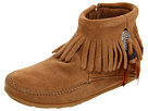 Minnetonka Womens Concho/Feather Side Zip Boot - Taupe, 9