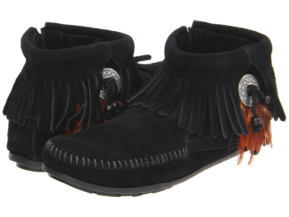 Minnetonka - Concho/Feather Side Zip Boot (Black Suede) Womens Pull-on Boots