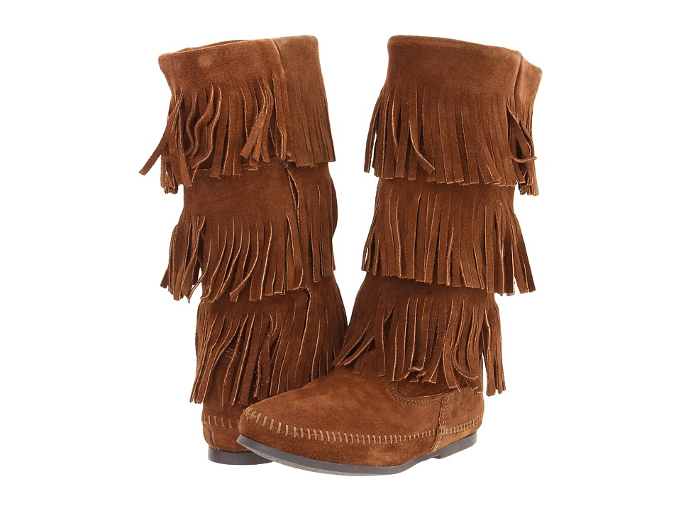 Minnetonka Calf Hi 3-Layer Fringe Boot (Dusty Brown Suede) Women's Pull-on Boots