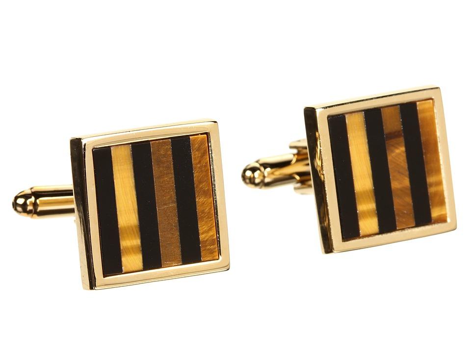 Stacy Adams Cuff Link 10141 Gold w/ Onyx Cuff Links