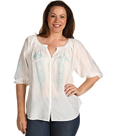 Karen Kane Plus - Plus Size Call Of The Canyon Smocked Neck Embroidered Top